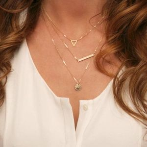 Triangle Bar Coin Layered Necklace